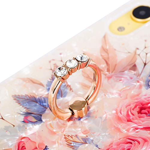 RicHyun Girly iPhone XR Case, Cute Pink Floral Soft Pearly Lustre TPU Cover with Sparkly Diamond Ring Holder for Women
