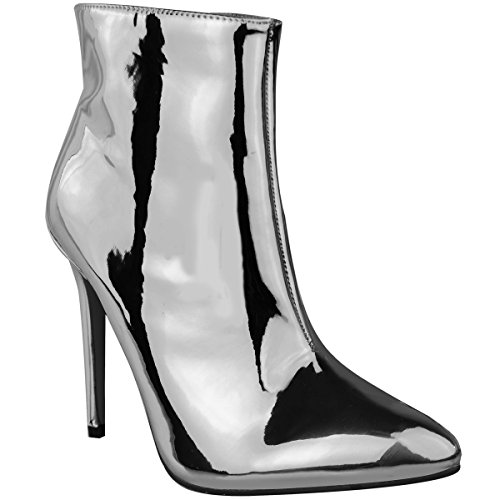 Block Silver Ankle Rose Metallic Toe Womens Size Metallic Silver Pointed Ladies Boots High Heel qgS1wB