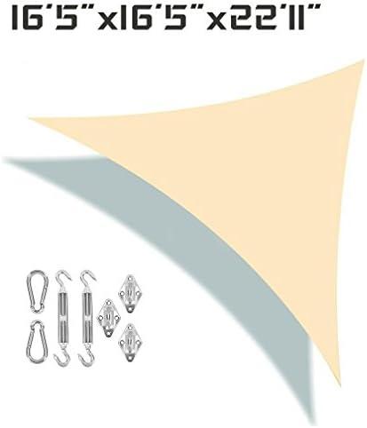 Unicool Deluxe Right Triangle 16 5 x 16 5 x 22 11 Sun Shade Sail UV Block Outdoor Patio Canopy Top Cover W Hardware Kit Beige Cream