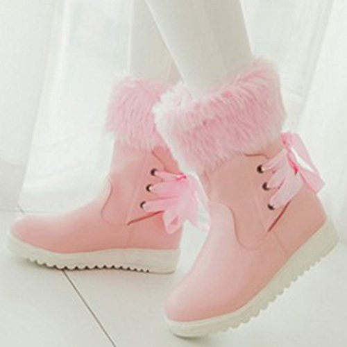 Easemax Women's Comfy Fluffy Fur Round Toe Low Wedged Heel Pull On Short Ankle High Booties Pink aiNI2yUqTL