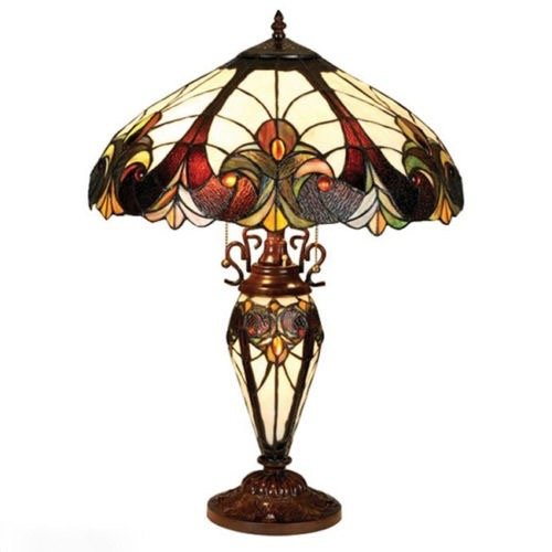 Table Lamp 2 Light Lit Base Stained Cut Glass Tiffany Vintage Style (Stained Glass Name Tags)