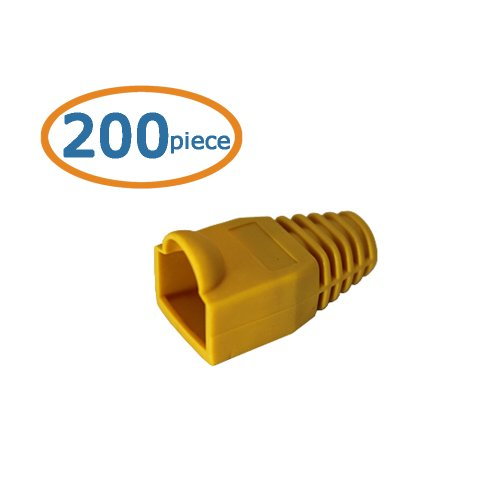 Cable Matters 4-Pack Cat6 / Cat5e RJ45 Strain Relief Boot in Yellow (50 Strain Relief Boots per (Rj 45 Cat5 Boots)