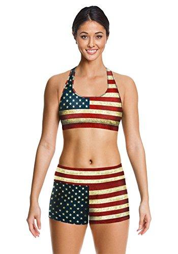 Leefi Women Yoga Retro USA Flag 3D Printing Athletic Apparel Fitness Sports Set