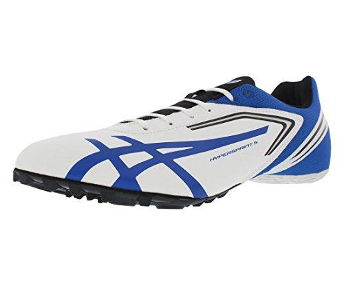 ASICS Men's Hypersprint 5 Running Shoe,White/Black/Blue,7 M US