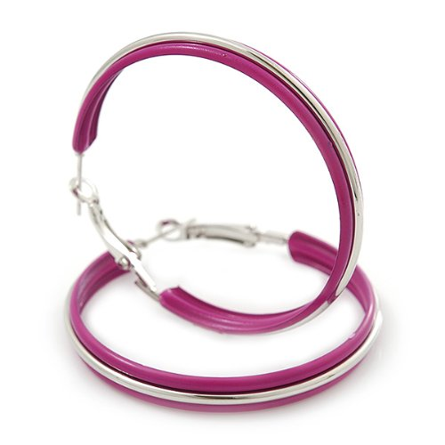 Boucles d'oreilles cercles émail magenta medium en ton argenté