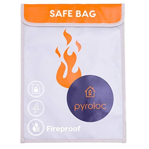 Pyroloc Fireproof Document Bag. Large Capacity (15