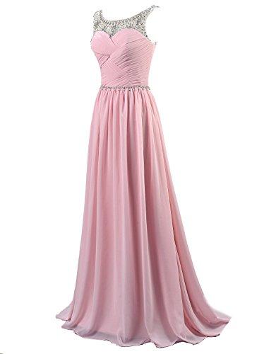 Kmformals Damen Brautjungfer Chiffon Perlen Lang Rosa Abschlussball Kleider Formale Abendkleid wpnUqw6rP