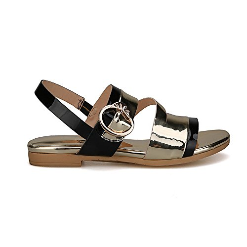 Amoonyfashion Para Mujer Open Toe Hebilla Cow Leather Assorted Color Low Heels Sandals Gold