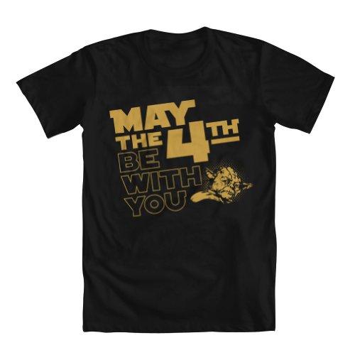 Geek Teez Star Wars May The 4Th Be With You Yoda Mens T Shirt Black Medium