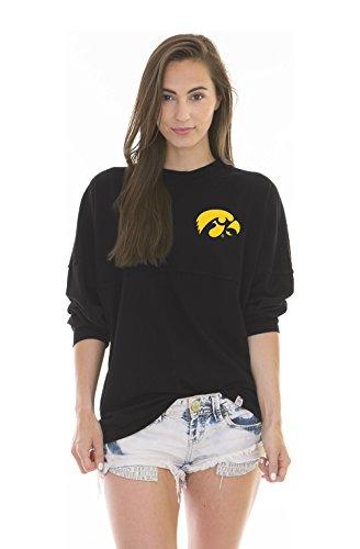 NCAA Iowa Hawkeyes Women's Jade Long Sleeve Football Jersey, Black, X-Large