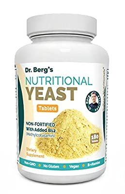 Nutritional Yeast Tablets – Non-Fortified – B-Vitamin Complex – Natural B12 Added – 180 Tablets – No Gluten – Vegan – Non-GMO – Non Synthetics