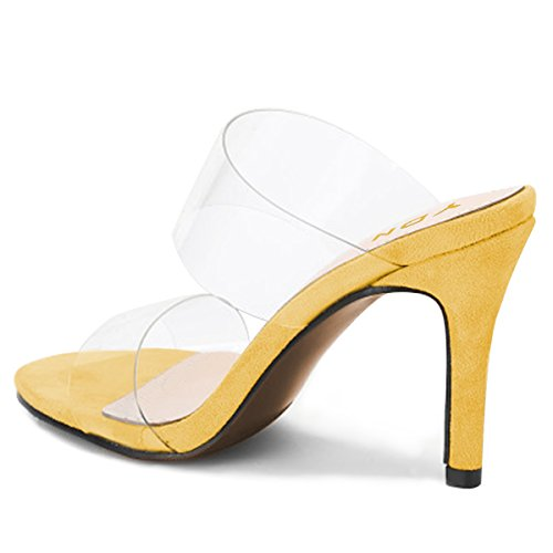 Dress Shoes Slip Women High Sandals Yellow Pumps Mules Heels Open Transparent on YDN Toe Slide xPZOZF