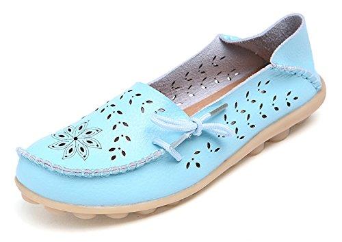 Comfort Scuffs - VenusCelia Women's Breathable Comfort Walking Flat Loafer(9 M US,Aquamarine)