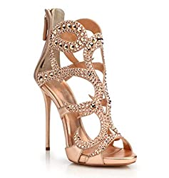 Metal Rhinestones Open Toe Sandals
