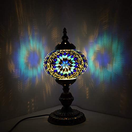 Kindgoo Turkish Mosaic Table Lamp Handmade Tiffany Style Glass Lamp