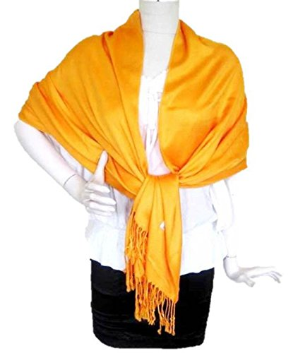 Cashmere Extra Long Cardigan - Solid Pashmina Shawl Cashmere Wrap Cardigan Women Scarf Top Light Weight Extra Wide Long Large Head Scarves Throw Blanket (Orange)