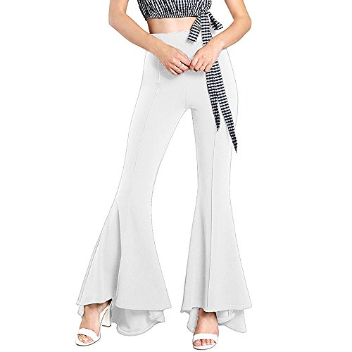 GUOLEZEEV High Waisted Flare Palazzo Wide Leg Pants Solid Color Trouser White S ()