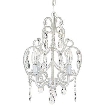 Leila 11 wide white finish beaded plug in swag chandelier tiffany white crystal beaded chandelier mini nursery plug in pendant 4 light wrought iron swag ceiling lighting fixture lamp aloadofball Gallery