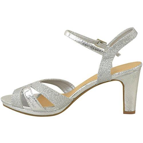 Brude Mote Partiet Sølv Blokk Tørst Sandaler Hæl Heelberry® Metallic Damene Strappy Midten Bryllup Womens Glitter Størrelse Cq1PCxwr