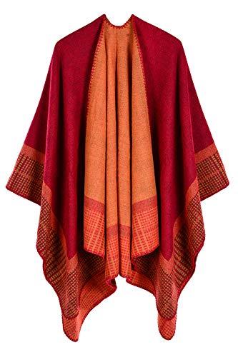 VamJump Women Warm Blanket Oversized Cashmere Ponchos Cape Shawl Scarves Red