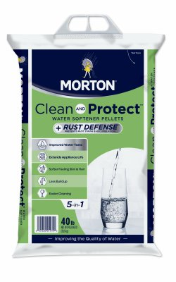 Morton F124700000g Clean & Protect / Rust Defense Water Softener Pellets, 40 - Salt Ron