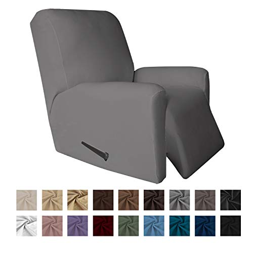 Easy-Going 4 Pieces Microfiber Stretch Recliner Slipcover - Spandex Soft Fitted Sofa Couch Cover, Washable Furniture Protector with Elastic Bottom Kids,Pet (Recliner, Light Gray) (Grey Microfiber Light Couch)