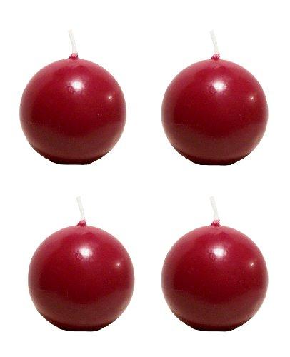Biedermann & Sons Round Shaped 2-3/8-Inch Diameter Ball Candles, Set of 4, Burgundy