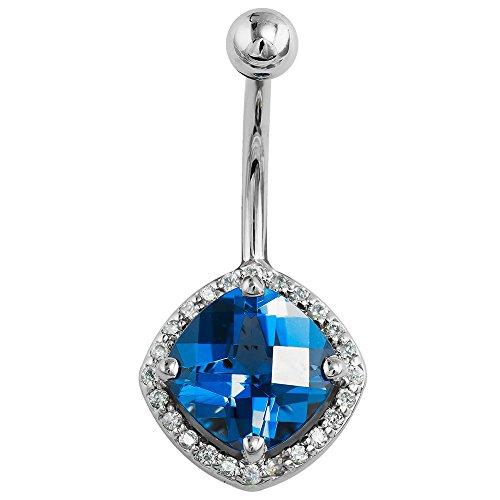 Blue Cubic Zirconia & Diamond Cushion Cut 14K White Gold Belly Ring 7/16