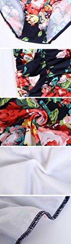 QZUnique Women's Retro Vintage One Piece Swimwear Floral Monokinis Plus Size Navy US XXL by QZUnique (Image #6)