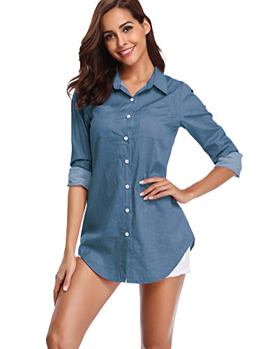 Denim Top Shirt (fuinloth Women's Chambray Button Down Shirt, Long Sleeve Cotton Blouse, Long Jeans Tunic Top Blue X-Large)