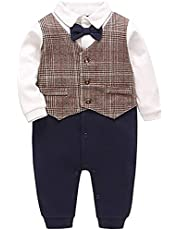 Baby Boy Clothes Gentleman Outfit Tuxedo Onesie Baby Boy Jumpsuit for Toddler Handsome Romper for Infant 0-18 Months