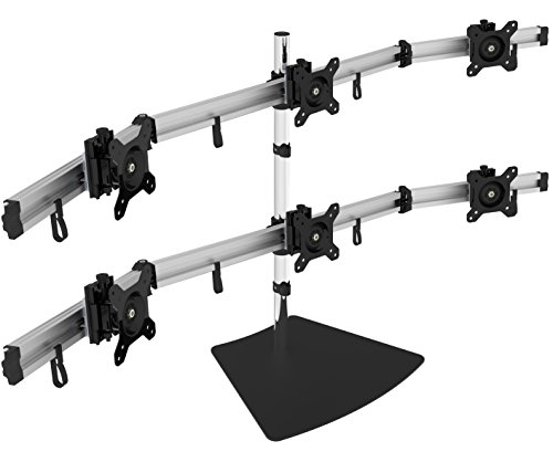 Gibbon Mounts Easy Assembly Horizontal Sliding Anti Theft 15 DegreesTilt 360 Degrees Rotation Aluminum Bar Multiple Hex Computer Monitor Mount Bracket on Desktop for Vesa 75X75, 100x100 GM-MP260S (Horizontal Screen Bar)