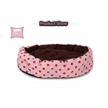 Soft Washable Polka Dot Pet Dog Cat Bed House Nest with Removable Cushion (Pink)