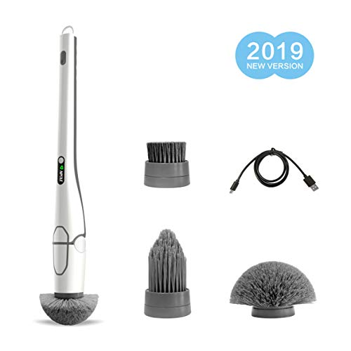 NPOLE Electric Spin Scrubber Floor Scrubber and Bathroom Scrubber, Cordless and Handheld Cleaning Brush with 3 Replaceable Brush Heads, High Rotation for Bathroom, Floor, Kitchen, Car, (White)