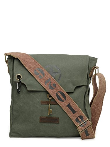 The House of Tara – Moss Green 100% Cotton Canvas Messenger Cross Body Bag with Stylish Design and Distress Finish for Men and Women