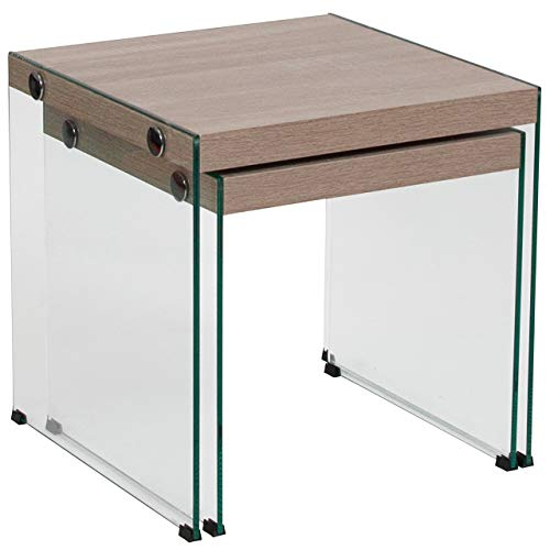 Flash Furniture Weston Collection Natural Wood Grain Finish Nesting Tables with Glass Frame