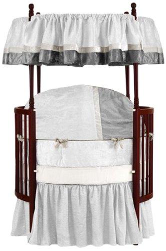 Baby Doll Bedding  Round Crib Bedding Set, White, 8 Piece