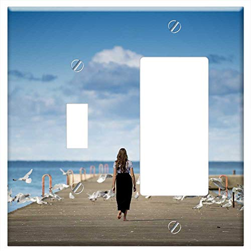 1-Toggle 1-Rocker/GFCI Combination Wall Plate Cover - Animals Birds Clouds Gulls Ocean Person Pier (One Pier Bird Plates)