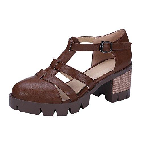 Mee Shoes Damen modern bequem Schnalle Geschlossen Niedrig dicker Absatz amtungsaktiv Knöchelriemchen Plateau Pumps Braun