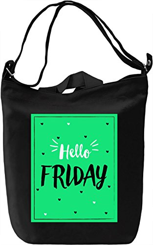 Hello Friday Borsa Giornaliera Canvas Canvas Day Bag| 100% Premium Cotton Canvas| DTG Printing|