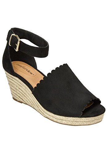 Woman Within Womens Wide Astrid Espadrille Sandals Black WjxScD