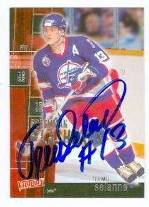 Teemu Selanne autographed hockey card (Winnipeg Jets) 2003 Upper Deck Victory #FF37