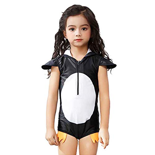Digirlsor Kids Toddler Girls One Piece Bathing Suit Cute Penguin Hooded Zip Swimsuit Rash Guard Swimwear Short Sleeve Black