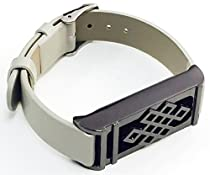 BSI Grey Leather Band For Fitbit Flex Activity Tracker Adjustable Straps With Metal Buckle Clasp And Titanium Black Color Unique Design Metal Housing 5.5 - 7.5