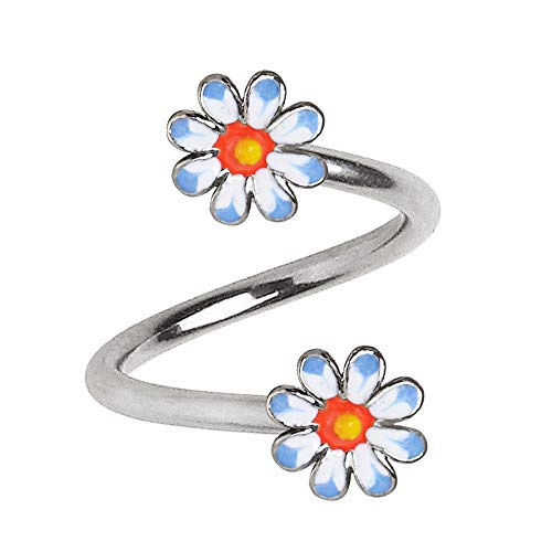 Amelia Fashion 14 Gauge Daisy Flower Twist Circulars 316L Surgical Steel (Steel & Daisy)
