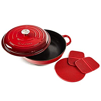 Uno Casa Enameled Cast Iron Skillet - Casserole Dish with Lid - 3.7 Quart Enamel Cookware