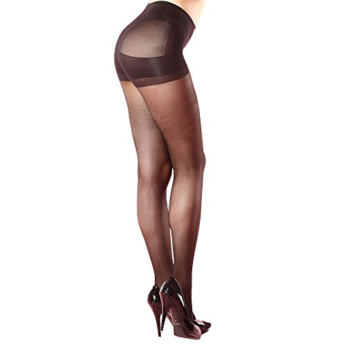 Koolfree Women's Sheer Control Top Lift Butt Reinforced Toe Pantyhose (black)