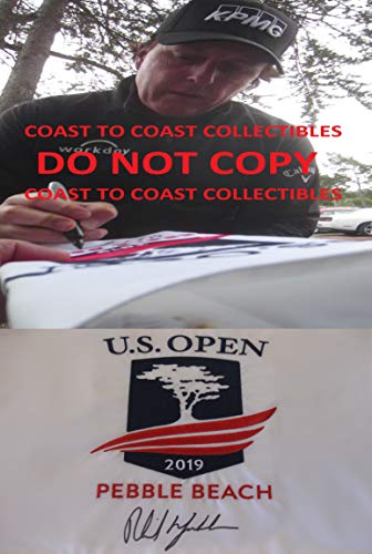 Phil Mickelson signed autographed 2019 US Open Pebble Beach Golf Flag, COA with the proof photo will be included