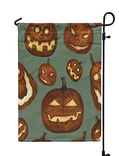 HerysTa Spring Garden Flag, Decorative Yard Farmhouse Holiday Banner 12 x 18 inches Watercolor Carved Pumpkin Scary Lanterns Pattern Halloween Horror Stylized Green Double-Sided Seasonal Garden Flags]()