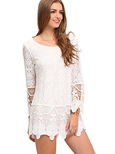 ROMWE Women's Flower Hem Long Sleeve Blouse Short Lace Floral Dress White M
